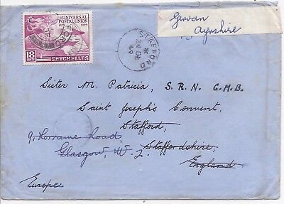 Seychelles 1949 18c surface rate cover to Scotland, redirected on arrival