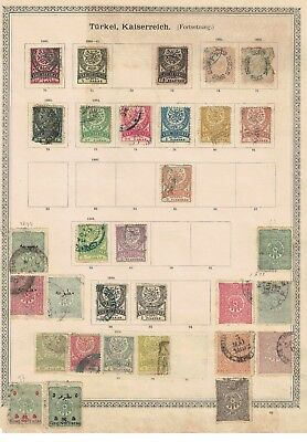 turkey ottoman stamps - 1880s onwards album page - surcharges etc useful range