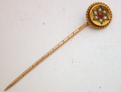 Attractive antique Edwardian 9ct. gold stick pin seed pearls & spinel