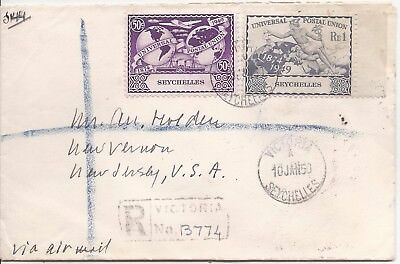 Seychelles 1950 registered airmail cover to USA, UPU 50c and R1.0