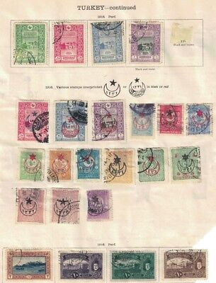 turkey ottoman stamps - 1916s onwards album page - surcharges etc useful range