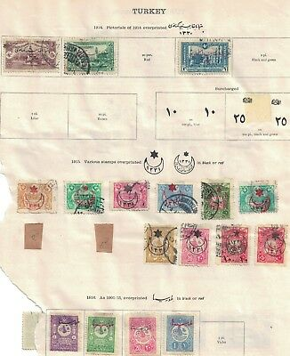 turkey ottoman stamps - 1914s onwards album page - surcharges etc useful range