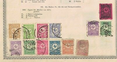 turkey ottoman stamps - 1890s onwards album page - useful range