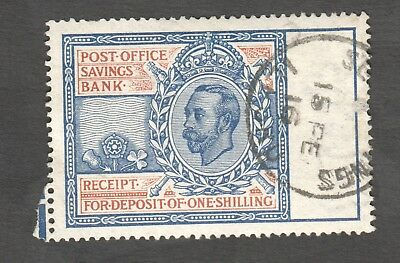 1911 Post Office Savings George 5Th One Shilling Receipt Stamp Fine Used