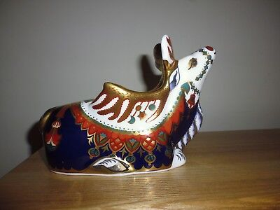 "Royal Crown Derby ""Reindeer"" paperweight. Gold stopper, now retired."