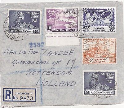 Singapore 1949 registered airmail cover to Holland