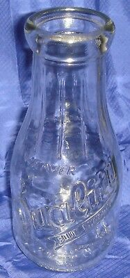 RP1159 Vtg Weaver Dairy Quality Blue Ribbon Round Milk Bottle 1 Pint Carmel IN