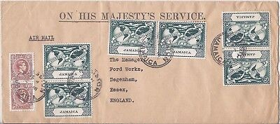 Jamaica 1949 OHMS airmail cover to UK, UPU 2d x 6 and 1 1/2d x 2 definitive
