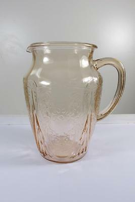 "Vintage Hazel Atlas Glass Royal Lace Pink Pitcher 8 1/4""inches  64 Oz. No Lip"