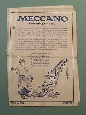 Rare Original 1920's Meccano Engineering for Boys leaflet