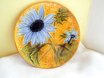 Majolica small plate blue flowers with  yellow background stamped 1632