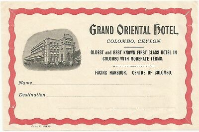GRAND HOTEL ORIENTAL luggage CEYLON label (COLOMBO)