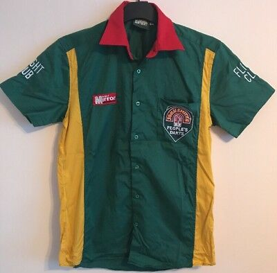 Darts team shirt John Smith's size M green-yellow-red colour