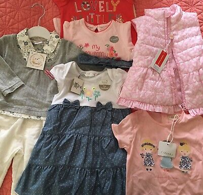 Bundle Brand New BNWT Baby Girls Clothes 6-9 Dress Sets Jacket 8 Pieces