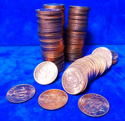 BULK JOB LOT ONE KILO UNCIRCULATED 1967 HALF PENNIES 1/2 PENNY HAPENNY COINS 1kg