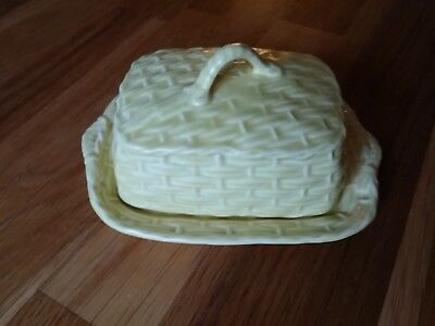 Sylvac 3010 Basket Weave Butter Dish - Yellow