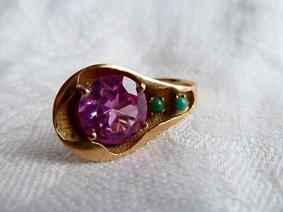 Vintage Chinese 15ct Gold Pink Sapphire & Jade Ring UK szL USA sz6 EU sz51 1/2