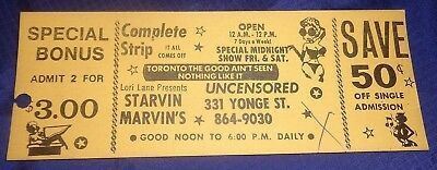 RP2280 Vtg Starvin Marvins Strip Joint Toronto ON Admission Ticket