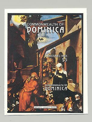 Dominica #983 Durer, Christmas, 1v. s/s imperf proof, mounted on card