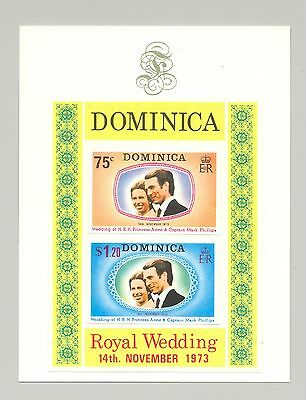 Dominica #373a 1973 Royal Wedding 2v imperf proofs affixed to proof background