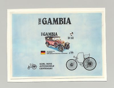 Gambia #629, Automobiles, Benz 8/20 1v imperf s/s chromalin proof mounted