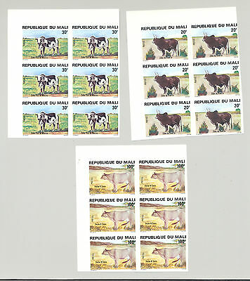 Mali #411-415 Cattle, Cows 5v Imperf Blocks of 6
