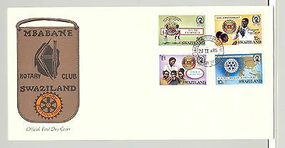 Swaziland 1985 Rotary, Maps, Handicapped. Children 4v on 1 FDC