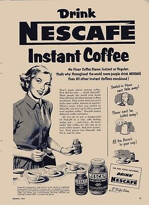 RP500 Vtg Old 1953 Nescafe Instant Coffee Ad