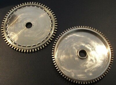 CLOCK PARTS * LARGE POLISHED BRASS GEARS COGS * STEAMPUNK MODELERS LOT OF 2pcs