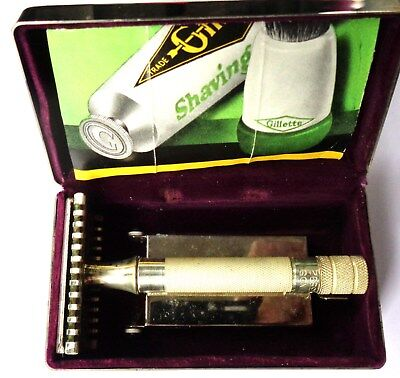 Gillette Made In England Silver Plated Safety Razor In Metal Case