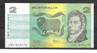 AUSTRALIA #43e 1985 $2 DOLLARS VG CIRC BANKNOTE PAPER MONEY CURRENCY BILL NOTE