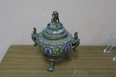 Vintage Japanese Cloisonne Enamel Brass Dragon Foo Dog Incense Burner Censer