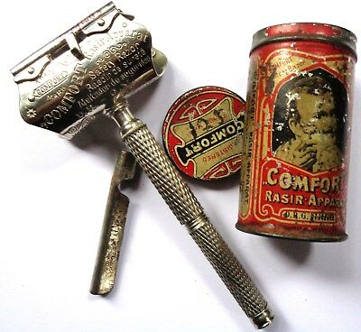 Comfort German Wedge Blade Safety Razor In Litho Tin