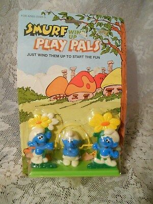 Smurf Wind Up Play Pals Sealed in Pack-3 Smurfs Jumping Rope-1982