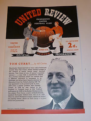 MANCHESTER UNITED   v  HIBERNIAN (TOM  CURRY  TESTIMONIAL)   30th SEPTEMBER 1953