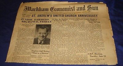 SE320 Vtg Markham ON Economist & Sun Newspaper June 19 1941