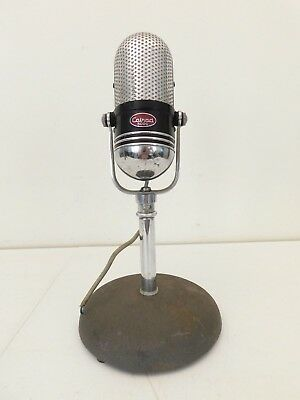 VINTAGE1950s 2 RING CHROME ART DECO MID CENTURY WORKING PILL MICROPHONE + STAND