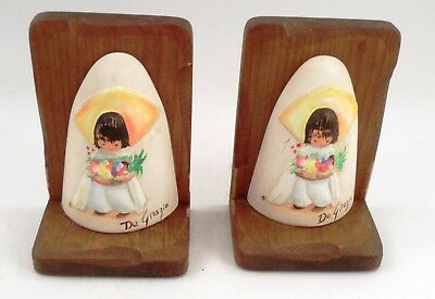 Vintage Signed Ted DeGrazia Southwest Little Boy Porcelain Bisque Wood Bookends