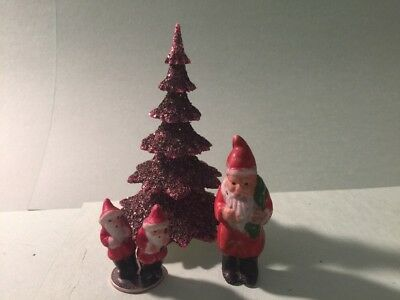 "German Plastic Vintage Christmas Tree 5"" And Bisque Santa Claus Lot NR"