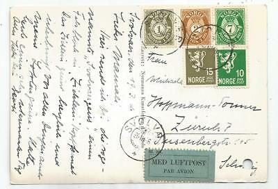 Norge Norway 10 Ore+15+1+2+7 Ore Card Avion Svglvas 1946 To Suisse