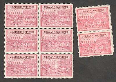 8 X U.s Olympic Committe London 1948 Games St Moritz Stamps