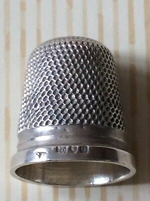 "Antique Samuel Foskett Solid Sterling Silver Thimble ""DAMAGED"""