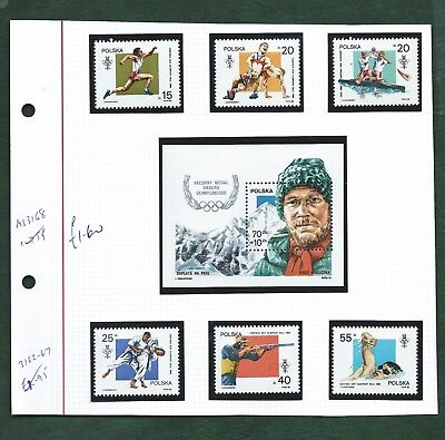 Poland Philippines Penrhyn various Olympics stamps and MS unmounted mint MNH