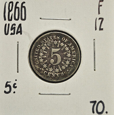 1866 United States 5 cents F-12