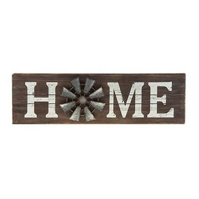 """Home Windmill Sign Wood Plaque with Galvanized Metal 23½"""" w x 7"""" h x ¾"""" deep."""