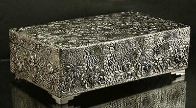 Japanese Sterling Box    SIGNED     ***  HAND WROUGHT ***    47 OZ