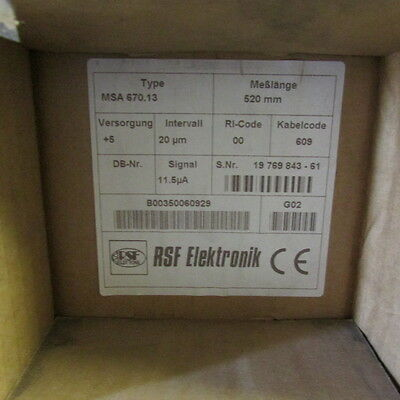RSF Elektronik Sealed Linear Encoder MSA 670.13 Length 520 mm