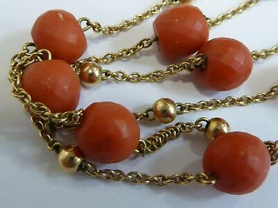 vintage 9ct .375 gold coral bead necklace