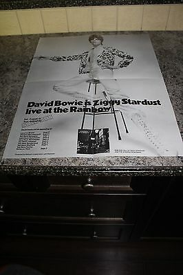 "RARE double sided Concert Poster DAVID BOWIE ""Ziggy Stardust Tour"" MINT 17""x23"""