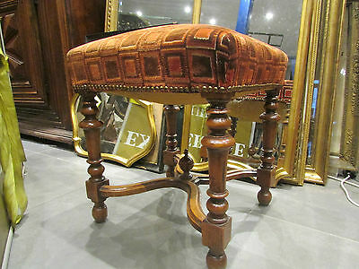antique stool style Louis XIII a baluster time 19 # walnut